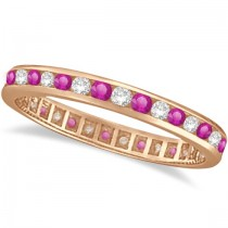 Pink Sapphire & Diamond Channel Set Eternity Band 14k R. Gold (1.04ct)