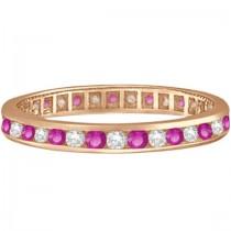 Pink Sapphire & Diamond Channel Set Eternity Band 14k R. Gold (1.04ct)