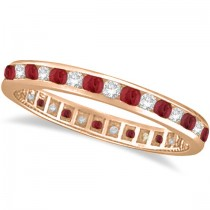 Ruby & Diamond Channel Set Ring Eternity Band 14k Rose Gold (1.04ct)