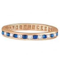 1.04ct Blue Sapphire & Diamond Channel Set Eternity Band 14k Rose Gold