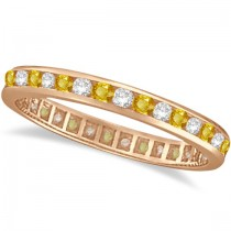 Yellow Sapphire & Diamond Channel Set Eternity Band 14k Rose Gold (1.04ct)
