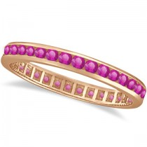 Pink Sapphire Channel Set Eternity Band 14k R. Gold (1.04ct)
