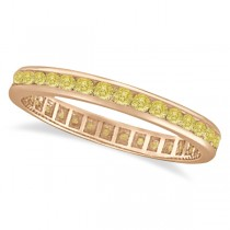 Channel Set Yellow Canary Diamond Eternity Ring 14k Rose Gold (1.00ct)