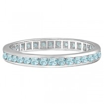 Aquamarine Channel-Set Eternity Ring Band 14k White Gold (1.08ct)|escape