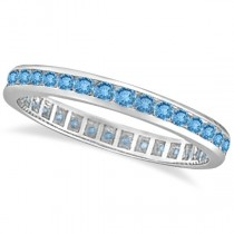 Blue Topaz Channel-Set Eternity Ring Band 14k White Gold (1.00ct)