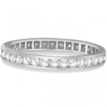 Channel Set Diamond Eternity Ring Band 14k White Gold (1.00 ct)|escape