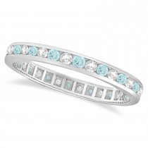 Aquamarine & Diamond Channel-Set Eternity Ring Band 14k White Gold (1.04ct)
