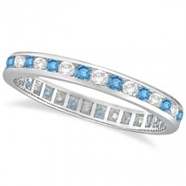 Blue Topaz & Diamond Channel-Set Eternity Ring 14k White Gold (1.04ct)