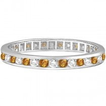 Citrine & Diamond Channel-Set Eternity Ring 14k White Gold (1.00ct)