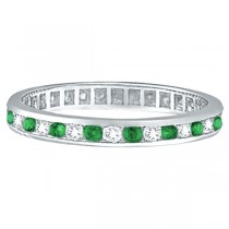 Emerald & Diamond Channel Set Eternity Band Ring Palladium (1.04ct)