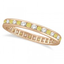 Channel-Set Yellow & White Diamond Eternity Ring 14k Rose Gold (1.00ct)