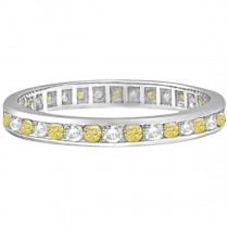 Channel-Set Yellow & White Diamond Eternity Ring 14k W Gold (1.00ct)