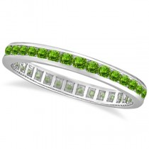Peridot Channel-Set Eternity Ring Band 14k White Gold (1.04ct)