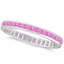 Pink Sapphire Channel Set Eternity Band 14k W. Gold (1.04ct)