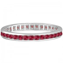 Ruby Channel Set Stackable Ring Eternity Band 14k White Gold (1.04ct)