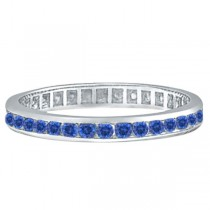 1.08ct Blue Sapphire Channel Set Eternity Ring Band 14k White Gold