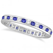 Tanzanite & Diamond Channel-Set Eternity Ring 14k White Gold (1.04ct)