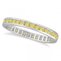 Channel Set Yellow Canary Diamond Eternity Ring 14k White Gold (1.00ct)