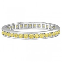 Channel Set Yellow Canary Diamond Eternity Ring 14k White Gold (1.00ct)|escape