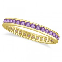 Amethyst Channel Set Eternity Ring Band 14k Yellow Gold (1.00ct)