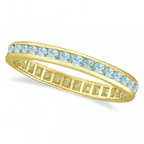 Aquamarine Channel-Set Eternity Ring Band 14k Yellow Gold (1.08ct)