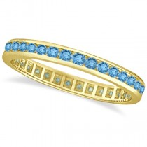 Blue Topaz Channel-Set Eternity Ring Band 14k Yellow Gold (1.00ct)