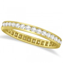 Channel Set Diamond Eternity Ring Band 14k Yellow Gold (1.00 ct)
