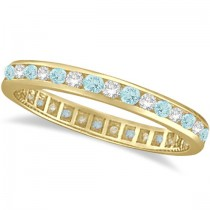 Aquamarine & Diamond Channel-Set Eternity Ring Band 14k Yellow Gold (1.04ct)