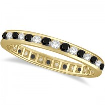 Black & White Diamond Channel Set Eternity Ring 14k Yellow Gold (1.04ct)