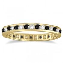 Black & White Diamond Channel Set Eternity Ring 14k Yellow Gold (1.04ct)