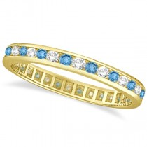 Blue Topaz & Diamond Channel-Set Eternity Ring 14k Yellow Gold (1.00ct)