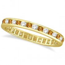 Citrine & Diamond Channel-Set Eternity Ring 14k Yellow Gold (1.00ct)