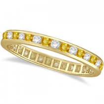 Yellow Sapphire & Diamond Channel Set Eternity Band 14k Yellow Gold (1.04ct)