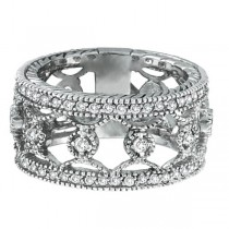 Antique Style Floral Diamond Eternity Ring Wide Band 14k White Gold (0.75ct)