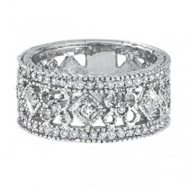 Antique Style Diamond Eternity Ring Wide Band 14k White Gold (0.66ctw)|escape
