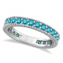 Blue Diamond Eternity Ring with Milgrain Edges 14k White Gold (1.00ct)
