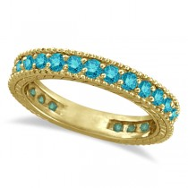 Blue Diamond Eternity Ring with Milgrain 14k Yellow Gold (1.00ct)