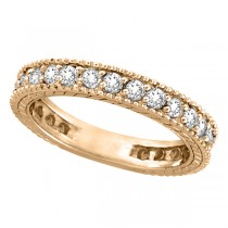 Diamond Eternity Milgrain Edged Ring Band 14k Rose Gold (1.00ct)