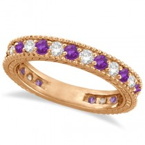 Diamond & Amethyst Eternity Ring Band 14k Rose Gold (1.08ct)