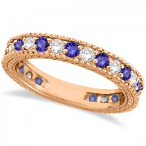 Diamond & Tanzanite Eternity Ring Band 14k Rose Gold (1.08ct)