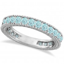 Aquamarine Eternity Ring Anniversary Band 14k White Gold (1.16ct)