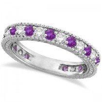 Diamond & Amethyst Eternity Ring Band 14k White Gold (1.08ct)