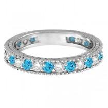 Diamond & Blue Topaz Eternity Ring Band 14k White Gold (1.08ct)