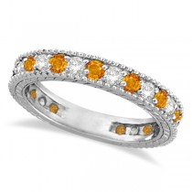 Diamond & Citrine Eternity Ring Band 14k White Gold (1.08ct)