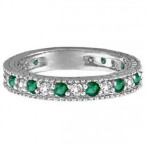 Diamond and Emerald Anniversary Ring Band in 14k White Gold (1.08 ctw)|escape