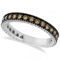 Champagne Diamond Eternity Band Black Rhodium 14k White Gold (1.00ct)