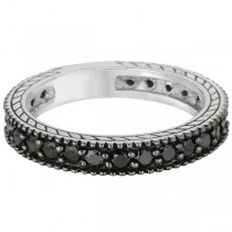 Black Diamond Eternity Band w/ Black Rhodium 14k White Gold (1.00ct)