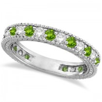 Diamond & Peridot Eternity Ring Band 14k White Gold (1.08ct)