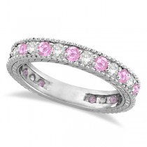 Diamond and Pink Sapphire Ring Anniversary Band 14k White Gold (1.08ct)