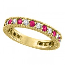 Diamond and Pink Sapphire Ring Anniversary Band 14k Yellow Gold (1.08ct)